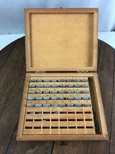 Vintage Printing Lead Type Print Numbers 764 With Wooden Box
