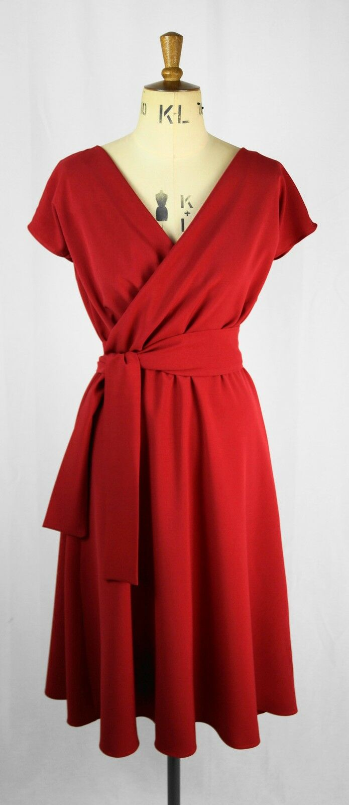 Baylis & Knight Ruby Red Short Sleeve WRAP Dress Retro Pin Up 40's Wedding guest