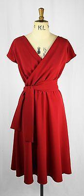 Baylis Knight Ruby Red Short Sleeve Wrap Dress Retro Pin Up 40 S Wedding Guest Ebay