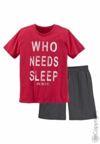 Shorty Kurz  Jungen Pyjama Shirt /& Hose Rot//Anthrazit Neu 134//140
