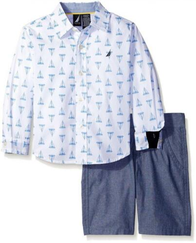 Nautica Boys Sail Boat Print Woven Shirt 2pc Short Set Size 4 5//6 7 7X $48