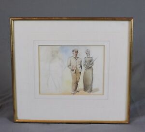 Figural-Fashion-Watercolour-Painting-Unfinished-19th-Century