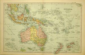 1909 Antik Landkarte Oceania Australia Borneo Sumatra Neu Guinea Siam Tasmanien