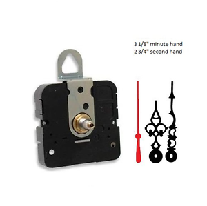 """Clock Movement Mechanism With 3 1//8/"""" serpentine hands up to 1//2/"""" thick dial"""