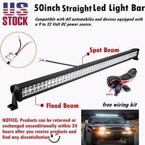 52Inch-300w-LED-Light-Bar-Spot-Flood-Work-Driving-Offroad-ATV-Jeep-Car-SUV-Truck