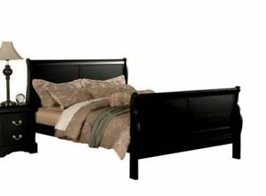 image is loading queen sleigh bed black modern headboard footboard frame - Sleigh Bed Frames