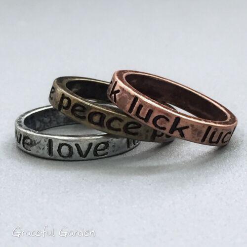 CR2155 Graceful Garden Antique Color Tone Love// Peace// Luck Band Ring