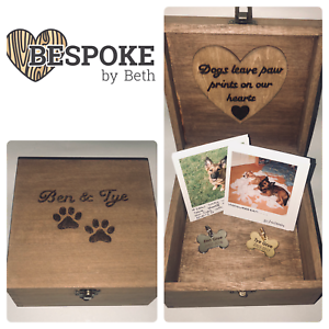 Personalised Dog Memorial Box Rustic Style Wooden Memories Pet Memory Box 20cm