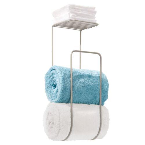 Wall Mount mDesign Towel Holder with Shelf for Bathroom Satin