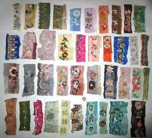 VERY-RARE-LOT-Antique-Vintage-Sari-TRIM-LACE-RIBBON-25-Pcs-BEADS-SEQUINS-DOLL-b1