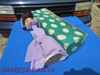 "Vintage Bradley big eye cloth pose doll 20"" tall lavender purple dress IN BOX"