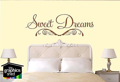Wall Quote Sticker Art Graphic - SWEET DREAMS decal home design cute vinyl bed