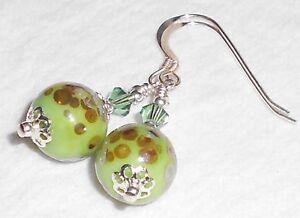 TIERRA-VERDE-Green-Lampwork-Crystal-Earrings