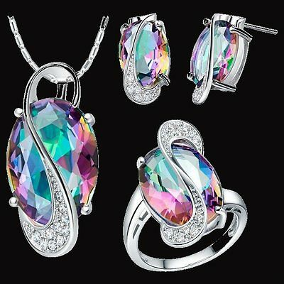 beautiful Fashion 925 sterling silver Pretty crystal Earring Ring Necklace set