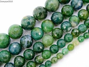 Natural-Moss-Agate-Gemstone-Faceted-Round-Beads-15-039-039-4mm-6mm-8mm-10mm-12mm-14mm