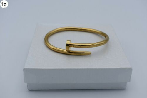 "7 1//4/"" UNISEX STAINLESS STEEL GOLD NAIL CUFF BRACELET MENS WITH BOX-G"