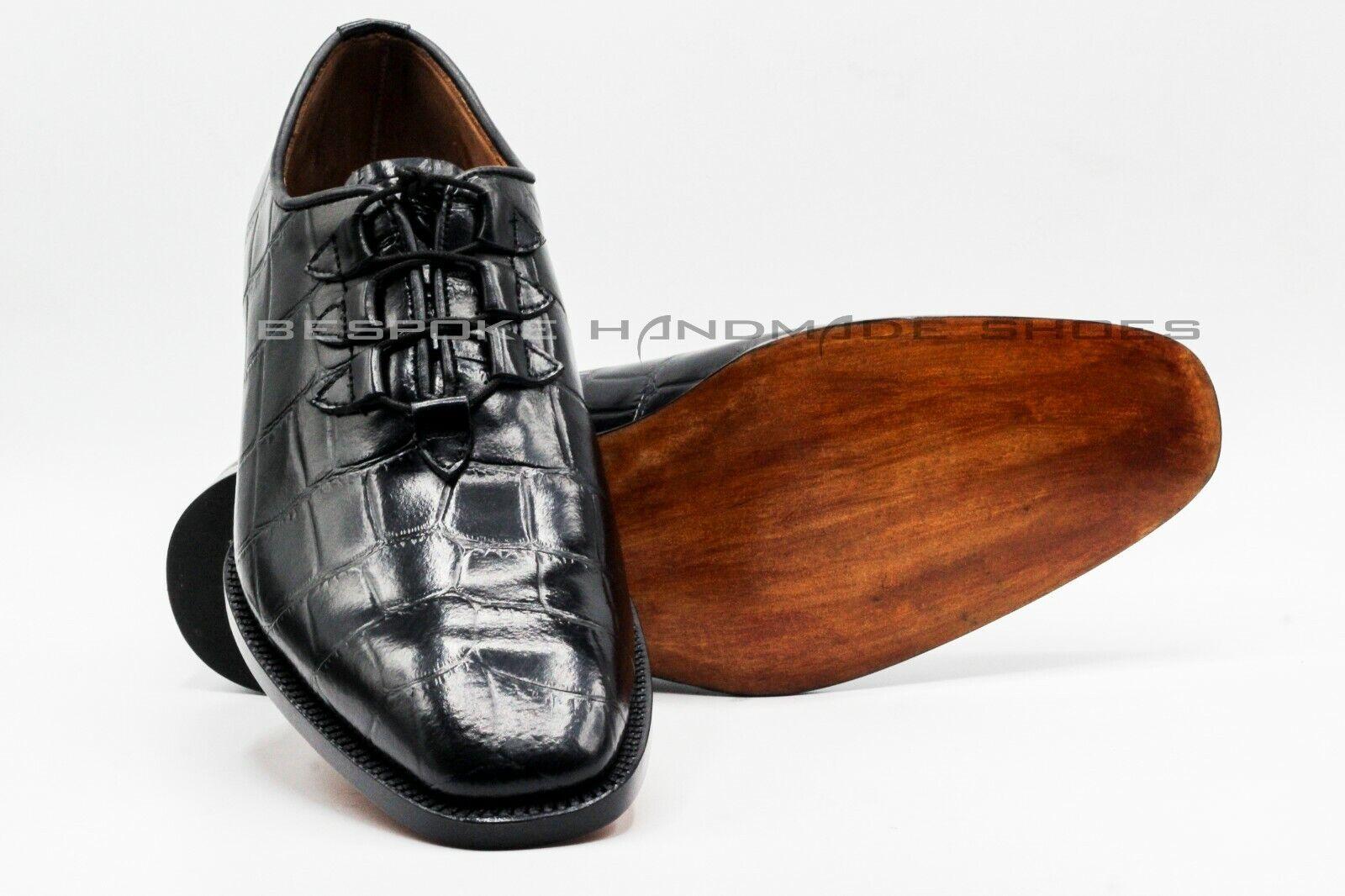Hecho a mano para hombres Cuero Genuino Becerro Negro Estampado De Cocodrilo Zapatos Con Cordones Formal
