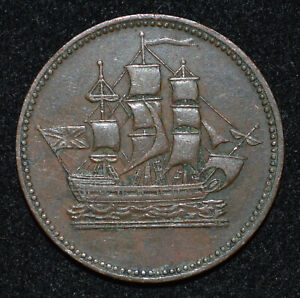 Canada-PEI-Ships-Colonies-Commerce-Penny-Token-Ch-VF-B-997-PE10-45-Lees-45