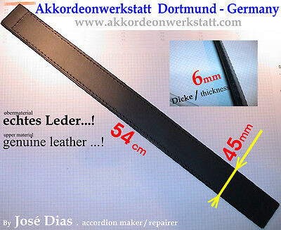 Akkordeon 8 x 54 cm Bassgurt strap Leder accordion bass belt Bassriemen