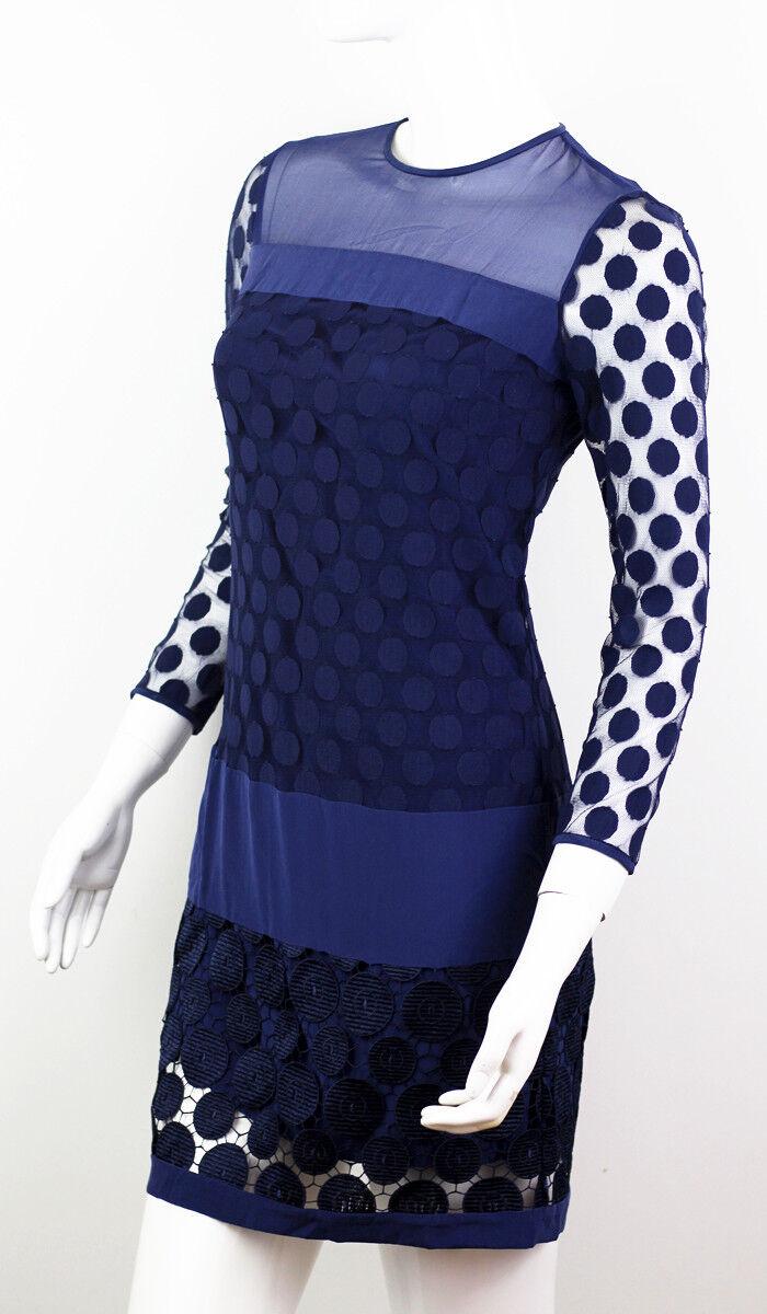 DIANA VON FURSTENBERG BLUE SILK LACE DRESS SIZE U… - image 1