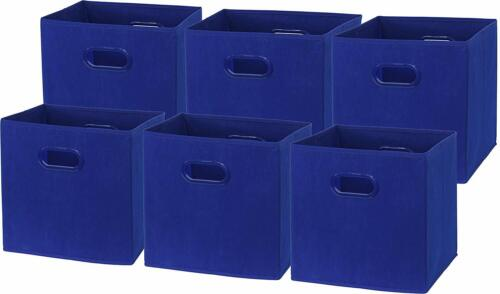 6 Pack Turquoise 12-In SimpleHouseware Foldable Cube Storage Bin with Handle