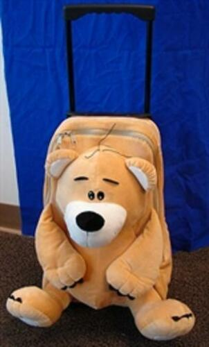 AMOS Plush BEAR PULL BAG Wheeled Retractable Handle School Luggage Bag Pack