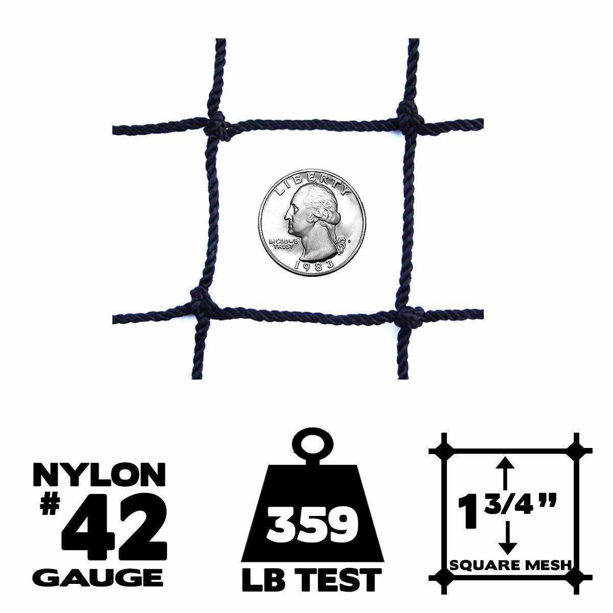 Netting - 10' x 10',  42 Gauge, Baseball / Softball Panel Net (Choose Border)