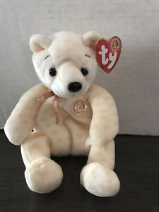 """Ty Beanie Baby Bear Of The Month """"Popcorn"""" October 2003 Yellow"""