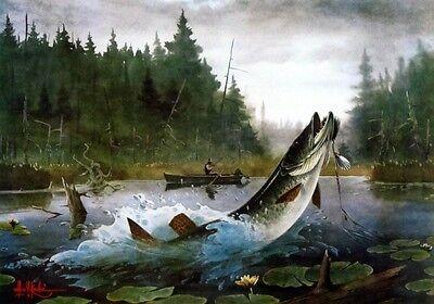 "The Live Log by Les Kouba Muskie Fishing Print  23.5/' x 16/"""