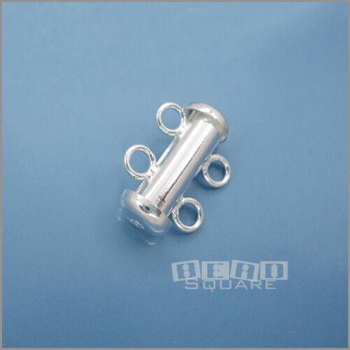 .925 Sterling Silver 2 Strand Slide Tube Clasp 15mm #33206