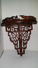 Antique Wood Hand Carved Chinese Wall Brackets Shelf Has moderate damage /repair