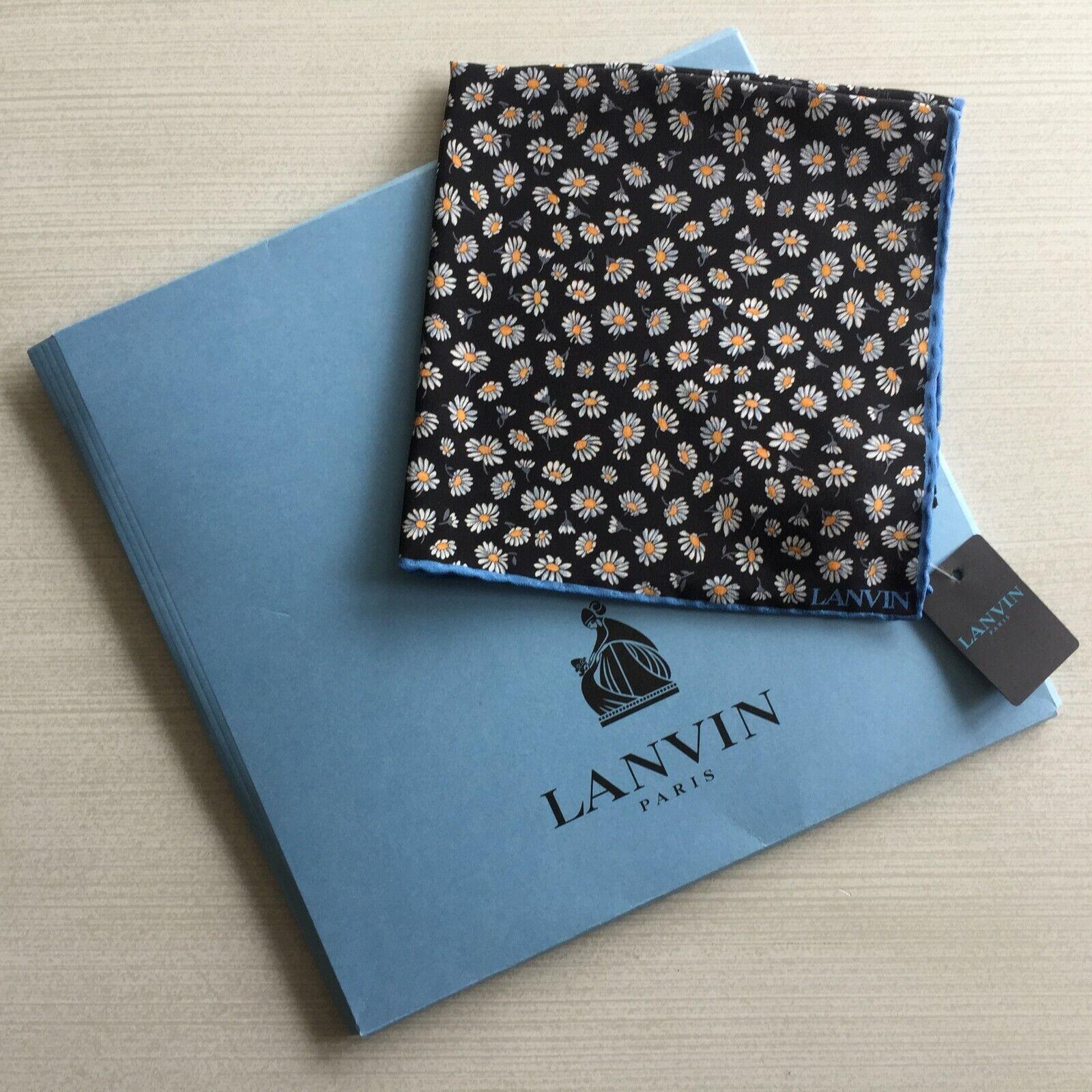 Lanvin Blumenmuster Seide Einstecktuch mit Logo Geschenk Arm Hergestellt IN BNWT