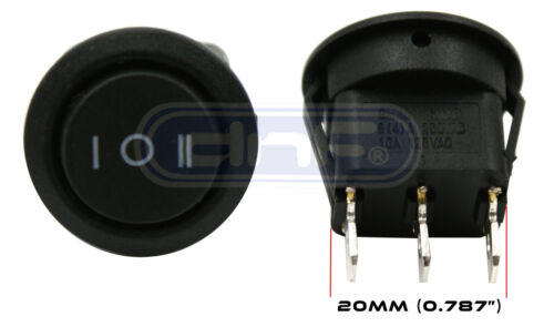 10 PACK 6A 250V 10A 125V ON//OFF//ON 3 POSITION MINI ROUND ROCKER SWITCH 12V SPDT