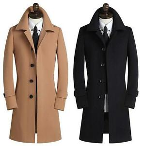 Retro Mens Slim Fit Wool Coat Business Formal Winter Jacket Trench ...