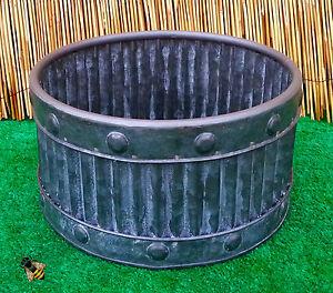 Garden Planter Metal Tub Round Zinc Ribbed Small Pot Patio New Ebay