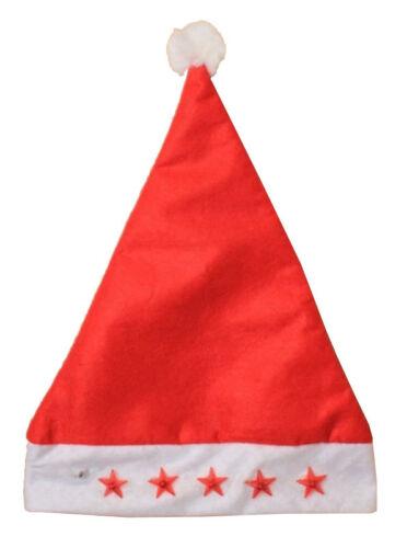 Unisexe Flasher Red Stars Santa a DEL Light Christmas Celebrations Fancy Dress