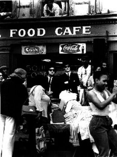 Blues Brothers standing in Front of The Cafe in Black and White High Quality Pho