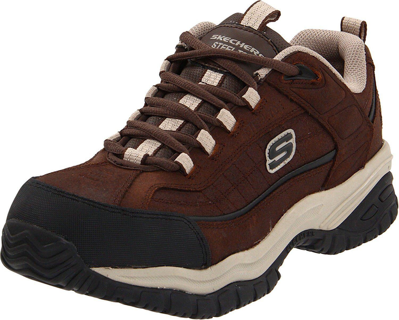 Skechers SOFT STRIDE Mens Brown Taupe STEEL TOE Slip Resistant Work shoes