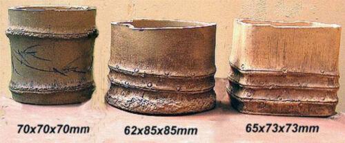 Precious Old Handmade Ceramic SHOHIN Bonsai Pots Set 3pcs looks like bamboo