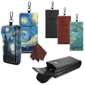 Double-Glasses-Case-Portable-Vegan-Leather-Eyeglass-Case-Pouch-w-Carabiner-Hook