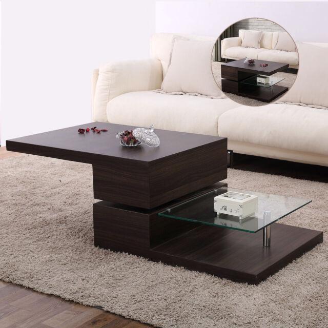 High Gloss Walnut Rotating Tabletop Wood Coffee Table With Tempered Gl Shelf