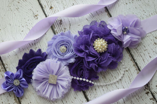 Flower Sash maternity sash flower Belt Shades of purple sash #2