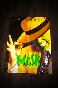 """THE MASK Jim Carrey 24"""" x 32"""" French Moyenne Movie Poster Original 1994 USED"""