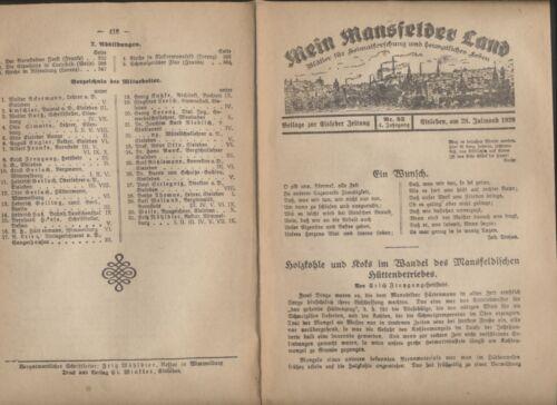 Mansfelder Land Blätter  1929  Holzkohle Koks Mansfeldischen Hüttenbetriebs