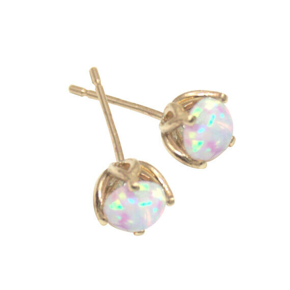 Earrings Opal 9ct gold Round Brilliant Basket Set Stud 1ct and 2ct Earrings