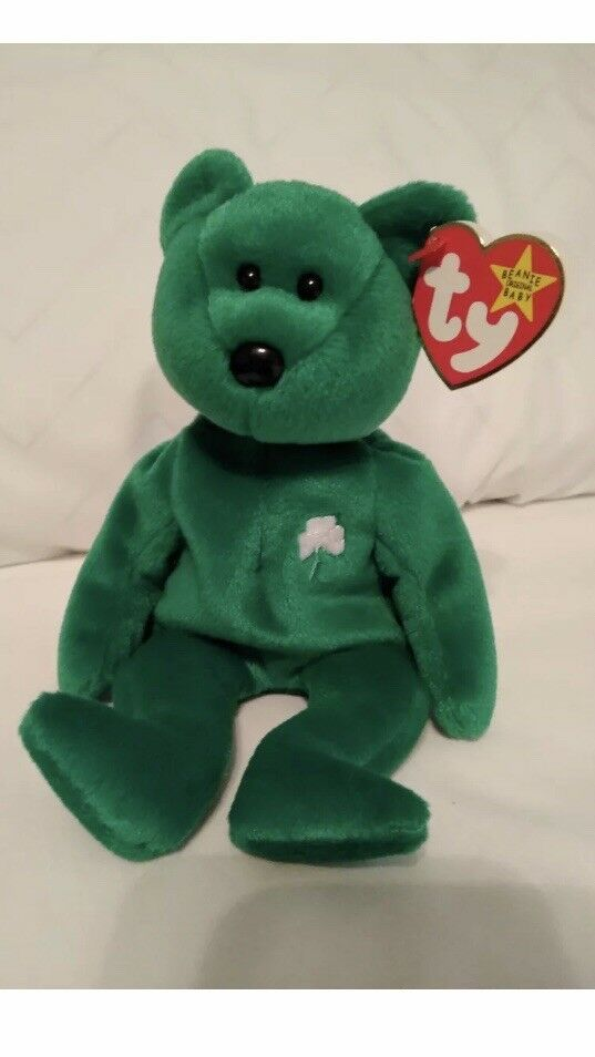 MINT Condition - Ty Beanie Baby  ERIN green bear -RARE - RETIRED 1997 - ERRORS