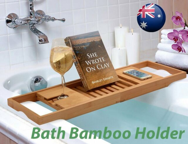 Bathroom Bamboo Bath Caddy Wine Glass Holder Tray Over Bathtub Rack ...