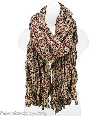 """Animal Leopard /""""U/"""" Print Large Brown Beige Pink Ladies Scarf Shawl UK Seller"""