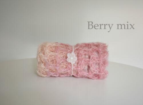 Premium Newborn Baby Crochet Mohair Wrap Set Cocoon and Headband Photo Ppop