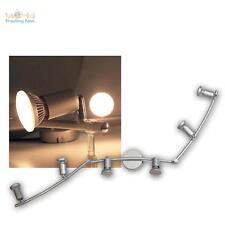 """LED Luminaire sportif """"NANCY"""" 6 lampes, argent, blanc chaud, Lampe de salon Spot"""
